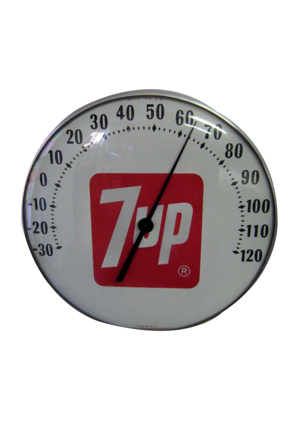 1960s 7-up Soda service station glass faced dial style thermometer. - Front 3/4 - 97813
