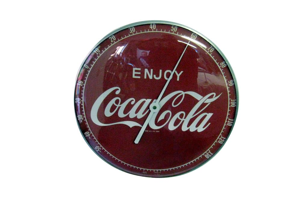 Striking late 1950s-early 60s Enjoy Coca-Cola glass faced general store thermometer. - Front 3/4 - 97814