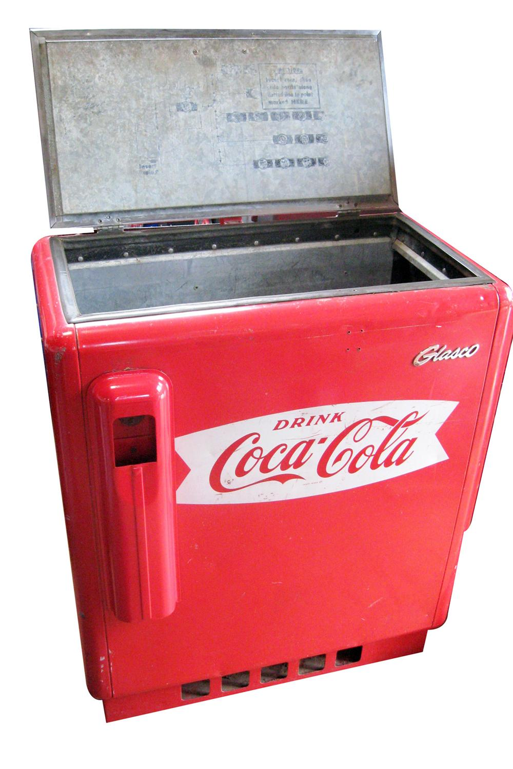 All original 1955 Coca-Cola Glasco refrigerated cooler with single door top and painted fishtail logo. - Front 3/4 - 97815