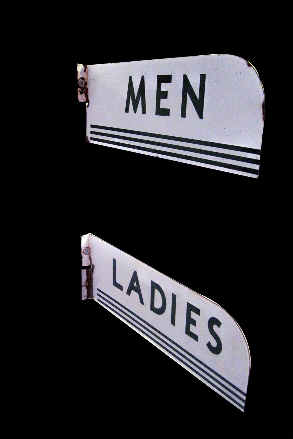 1950s Texaco Mens-Ladies porcelain service station flange signs. - Front 3/4 - 97816