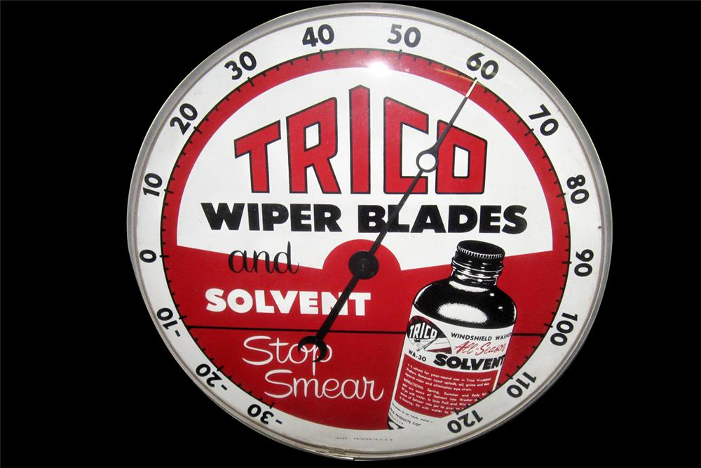 Awesome 1960s Trico Windshield Wiper Service glass faced dial style service garage thermometer. - Front 3/4 - 97821