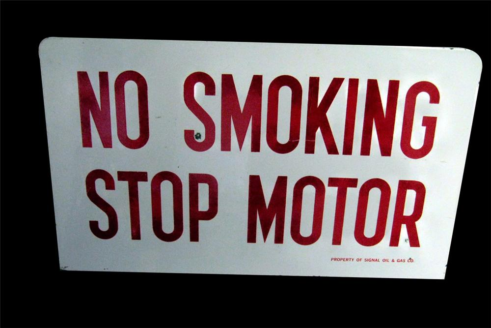 """1960s Signal Oil Company """"No Smoking - Stop Motor"""" fuel island porcelain sign. - Front 3/4 - 97823"""