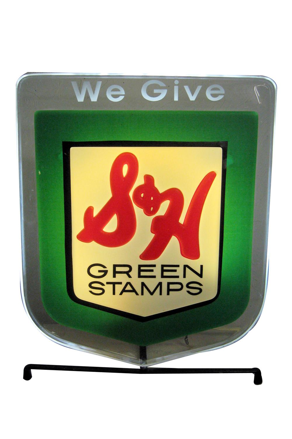 1960s S&H Green Stamps light up counter-top service station sign. Can also wall hang. - Front 3/4 - 97825