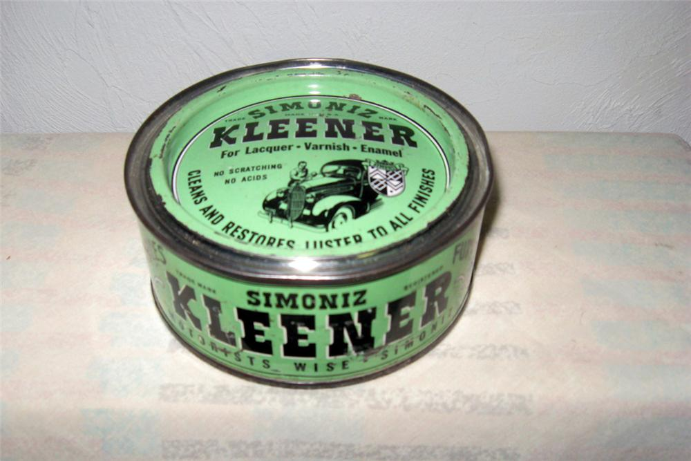 1930s Near Mint Simoniz Kleaner pre-wax tin container with sharp graphics. - Front 3/4 - 97826