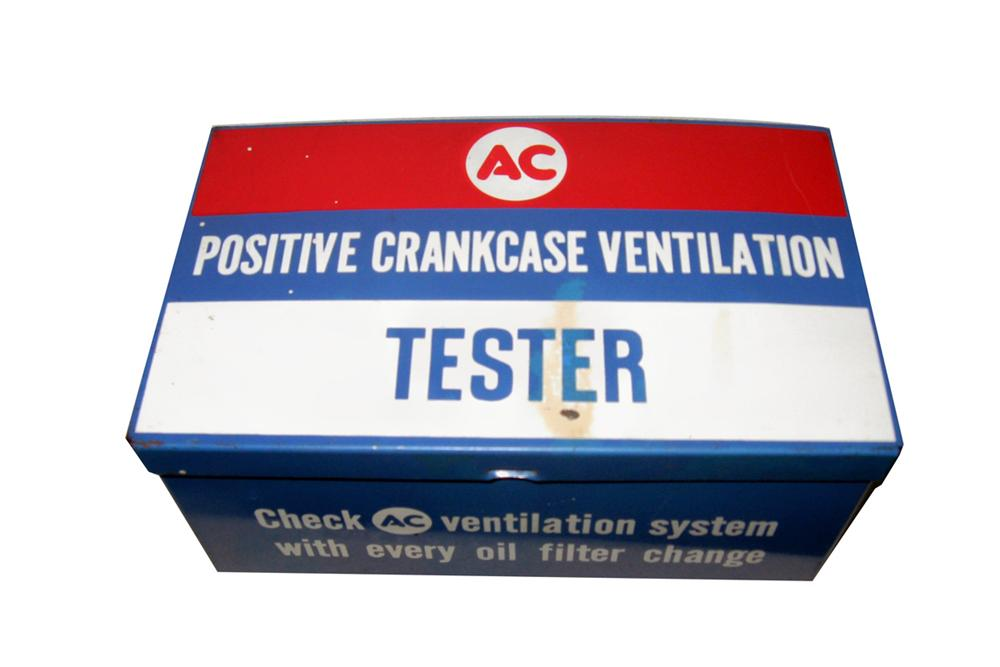 1960s AC Crank Case Ventilation Tester tin service department display box. - Front 3/4 - 97827