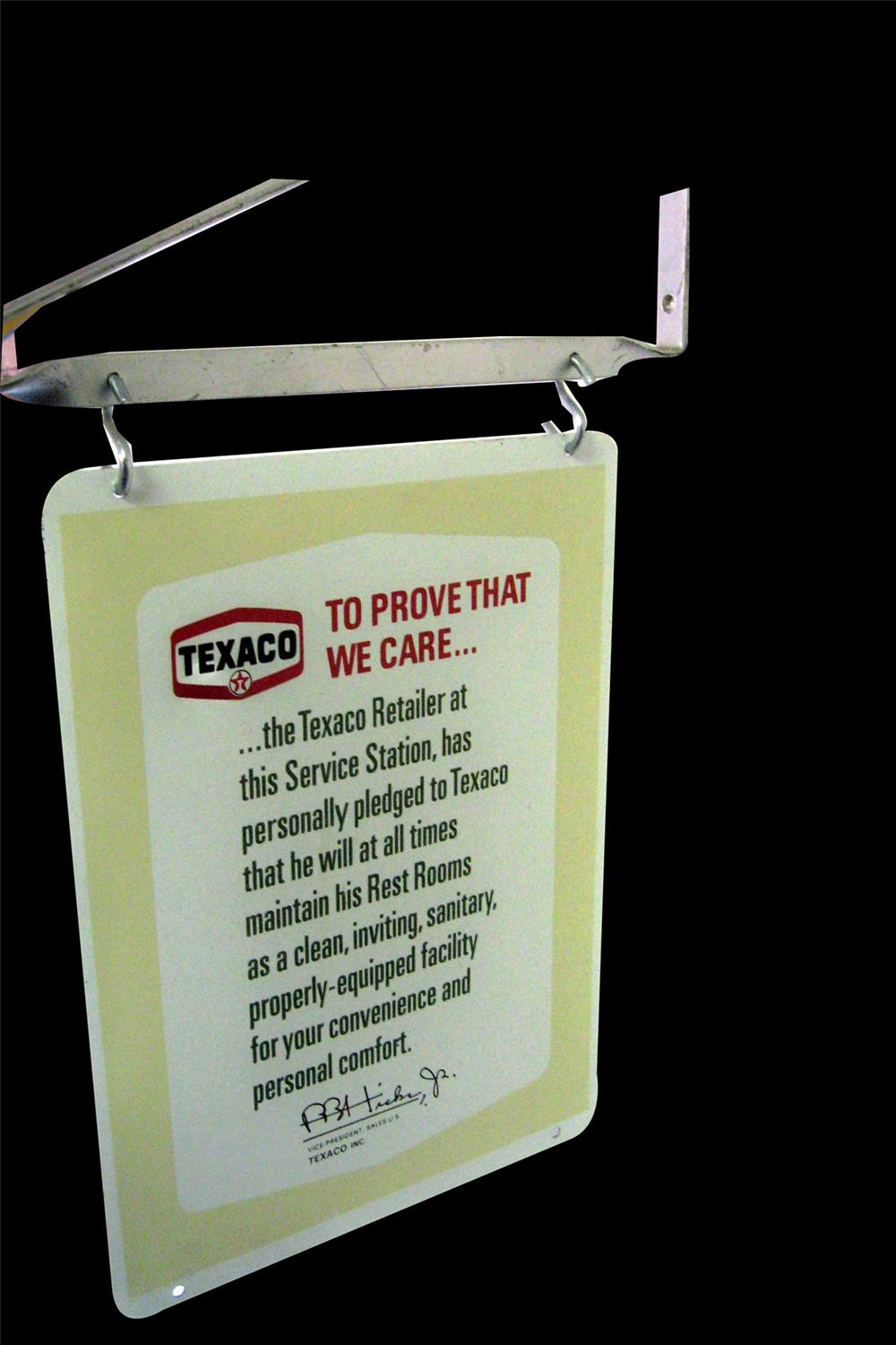 "N.O.S. 1960s Texaco Rest Rooms ""clean rest rooms pledge"" double-sided tin painted sign - Front 3/4 - 97835"