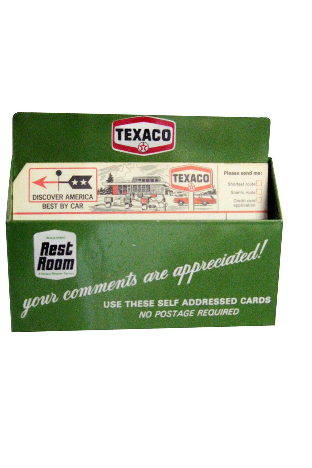 Unsurpassable N.O.S. 1960s Texaco service station comment cards metal wall/counter-top holder. - Front 3/4 - 97837