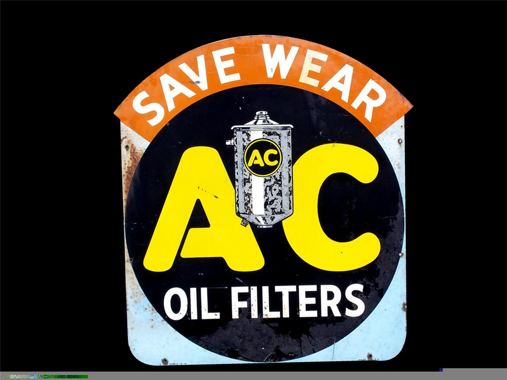 Rare AC Filters double-sided tin painted garage sign. - Front 3/4 - 97838
