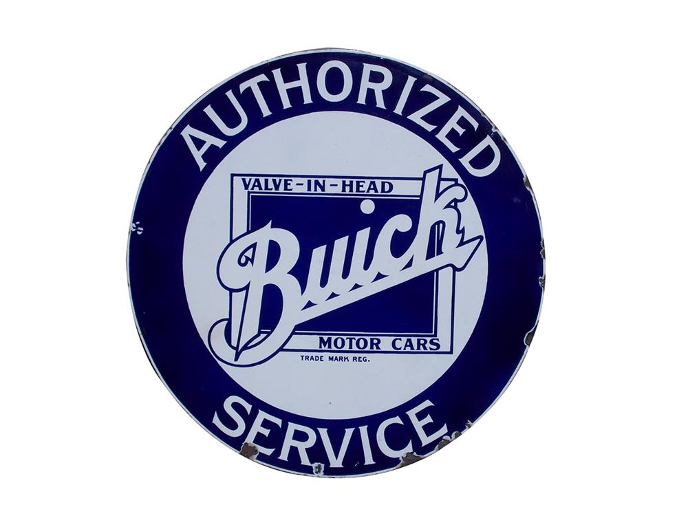 1930s Buick Valve-In-Head Service single-sided porcelain auto-dealership sign. - Front 3/4 - 97839