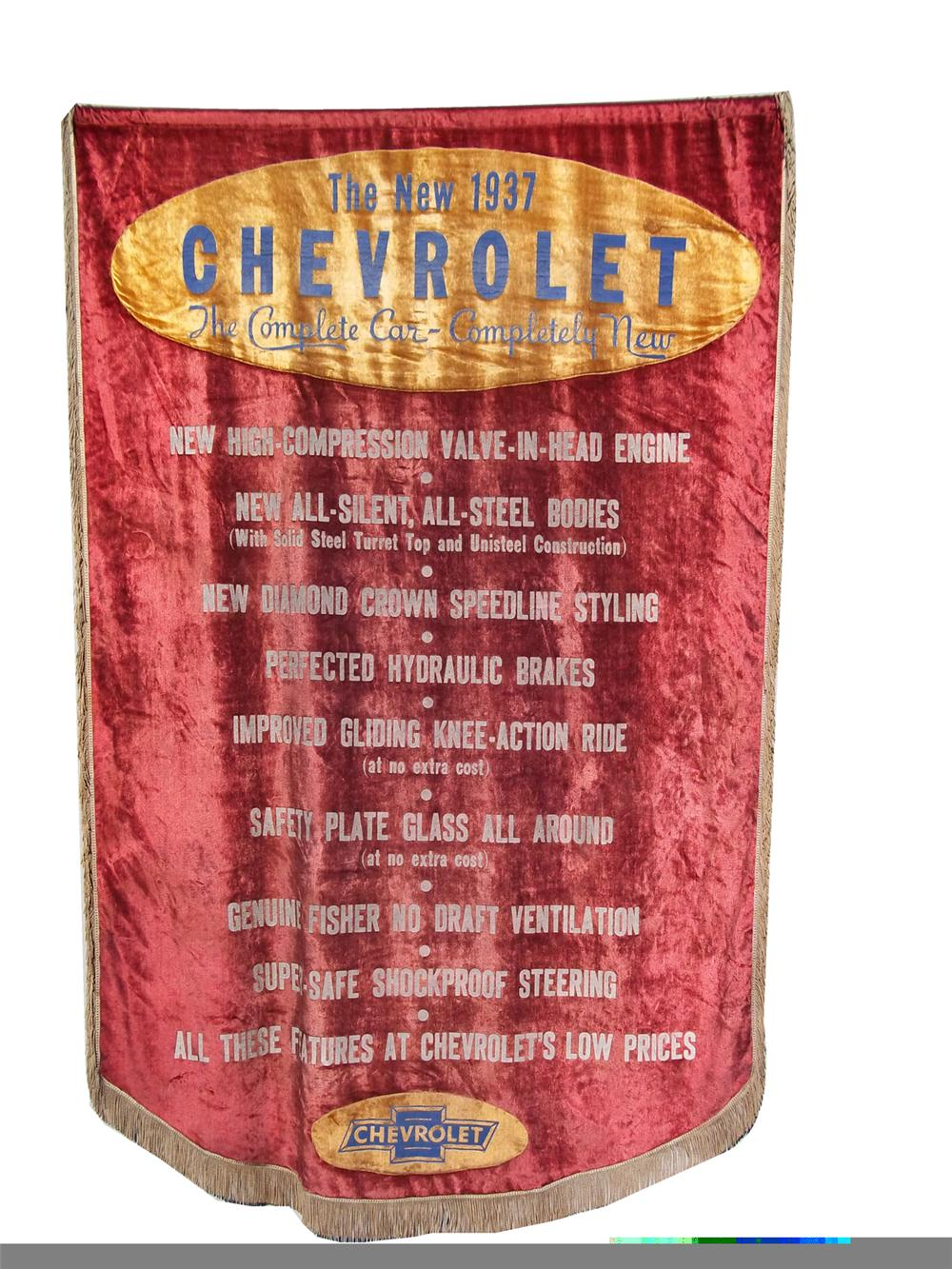 Gorgeous 1937 Chevrolet dealership showroom sales banner. - Front 3/4 - 97840