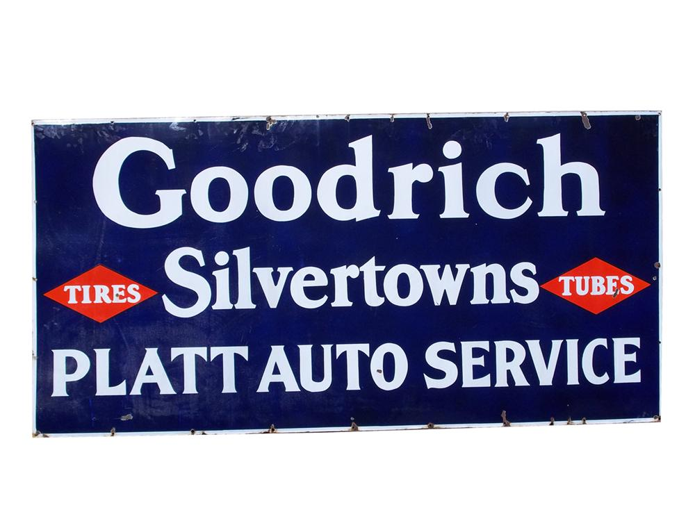 1930s Goodrich Silvertowns single-sided porcelain garage sign. - Front 3/4 - 97842