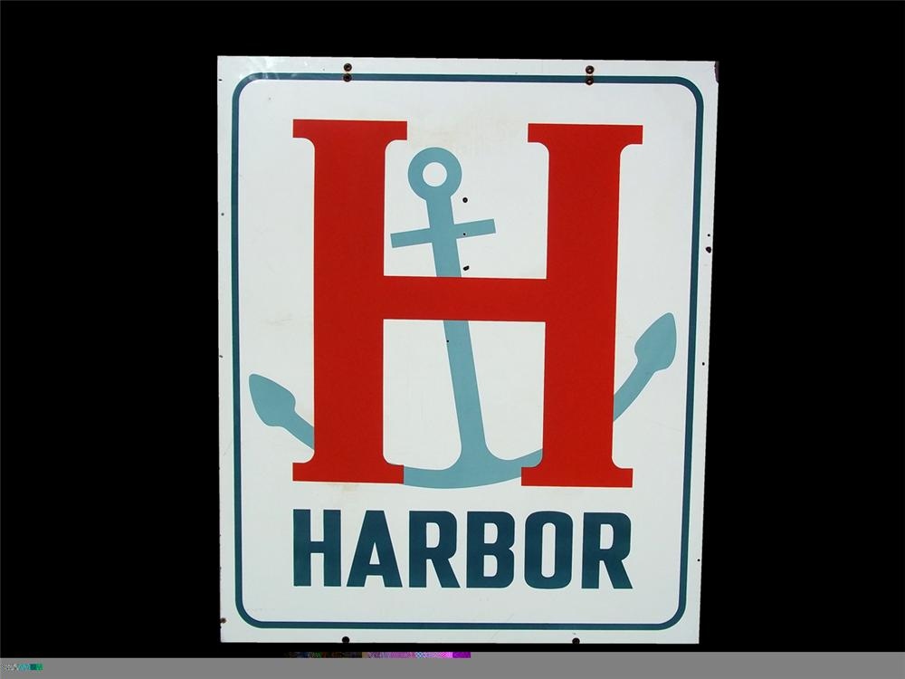 Extremely uncommon 1950s Harbor Gasoline double-sided porcelain service station sign - Front 3/4 - 97844