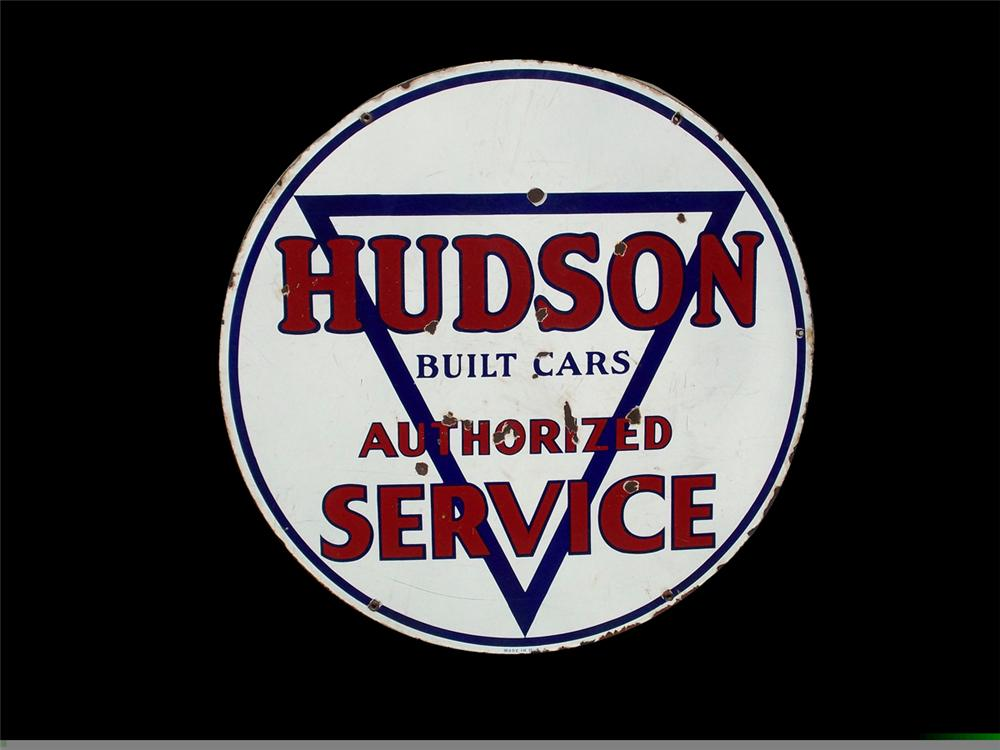 1930s-40s Hudson Service double-sided porcelain auto-dealership sign. - Front 3/4 - 97845