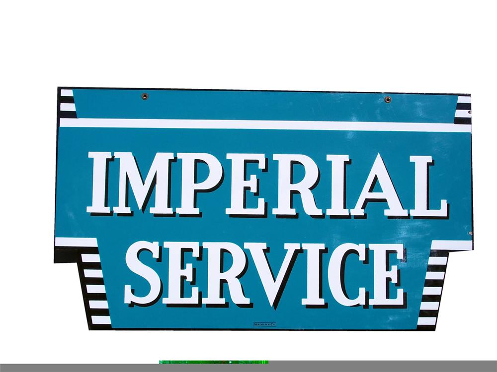 Impossible to find N.O.S. 1950s Chrysler Imperial Service double-sided porcelain dealership sign. - Front 3/4 - 97846