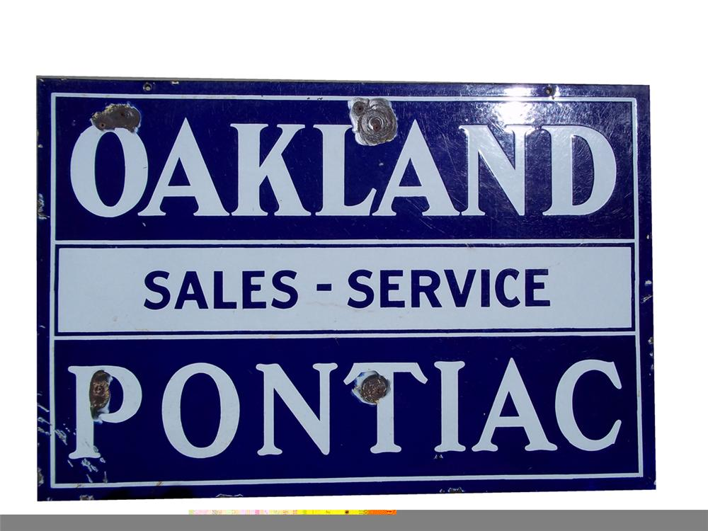 1930s Oakland-Pontiac double-sided porcelain auto-dealership sign. - Front 3/4 - 97847
