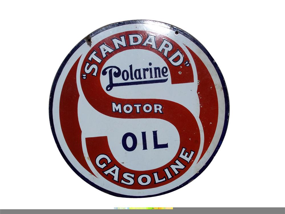 Museum quality 1930s Standard Motor Gasoline and Polarine Oil Sign. - Front 3/4 - 97850
