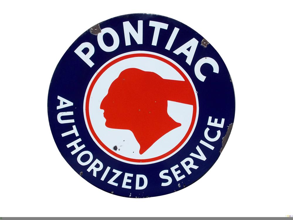 Highly sought after 1940s-50s Pontiac Authorized Service double-sided porcelain dealership sign - Front 3/4 - 97851
