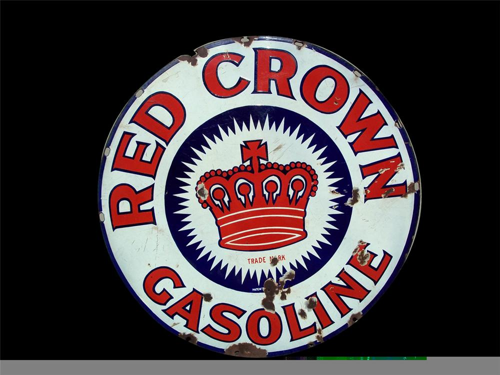 Very early and rare Red Crown Gasoline double-sided porcelain filling station sign with heavy shelving. - Front 3/4 - 97852