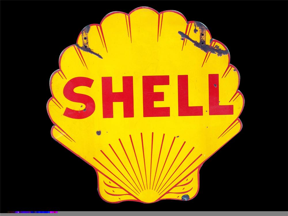 1930s Shell Oil double-sided clam shell shaped service station porcelain sign. - Front 3/4 - 97853