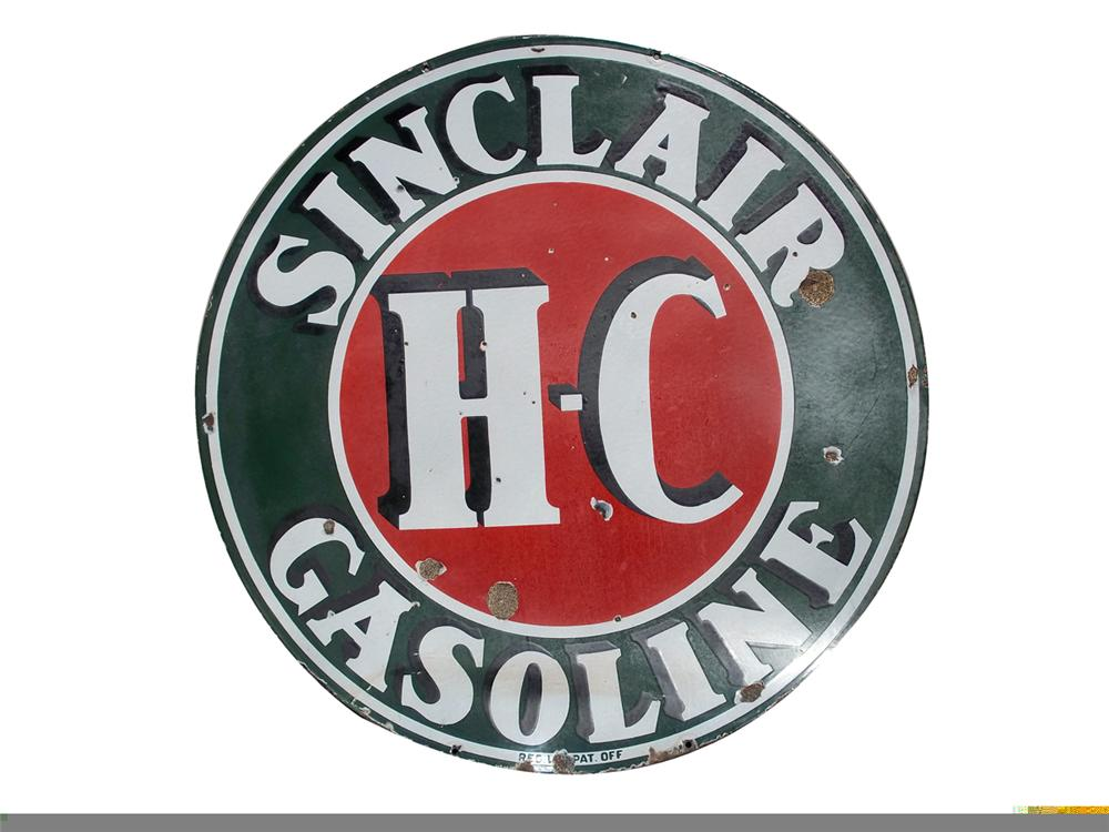 1930s Sinclair Gasoline double-sided porcelain service station sign. - Front 3/4 - 97855