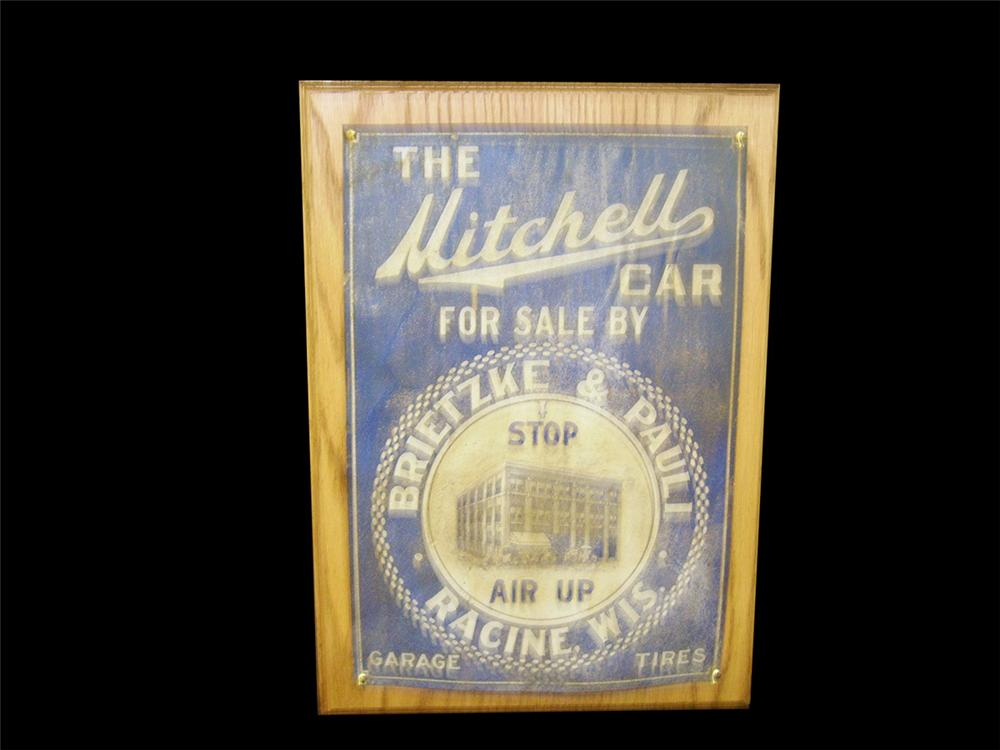 Historically significant late teens The Mitchell Car - Racine Wisconsin single-sided tin dealership sign. - Front 3/4 - 97864