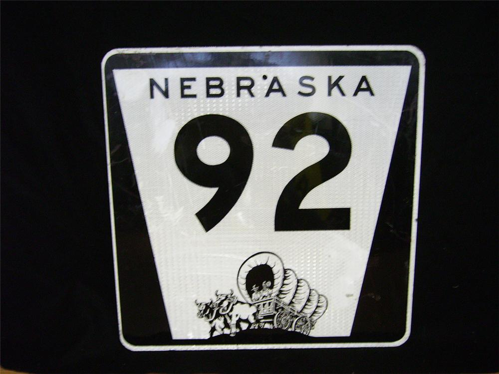 Nebraska U.S. Highway #92 single-sided highway sign with Pioneer graphic. - Front 3/4 - 97865