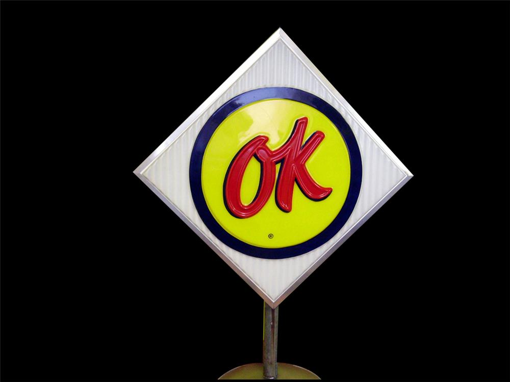 Incredible late 1950s-60s Chevrolet OK Used Cars single-sided light-up dealership lot sign on stand. - Front 3/4 - 97866