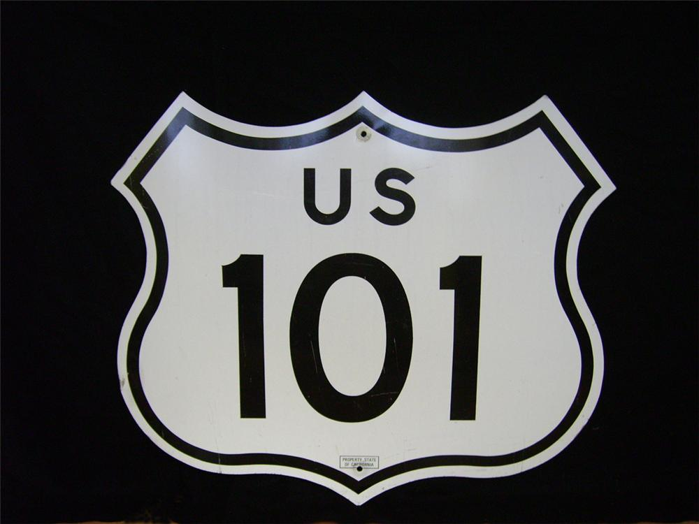Neat California U.S. Highway #101 single-sided road sign. - Front 3/4 - 97871