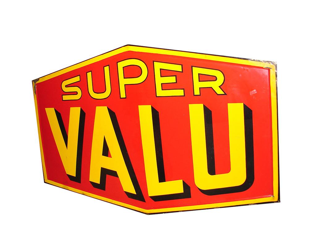 Phenomenal 1940s-50s Super Valu grocery stores single-sided porcelain sign. - Front 3/4 - 97873