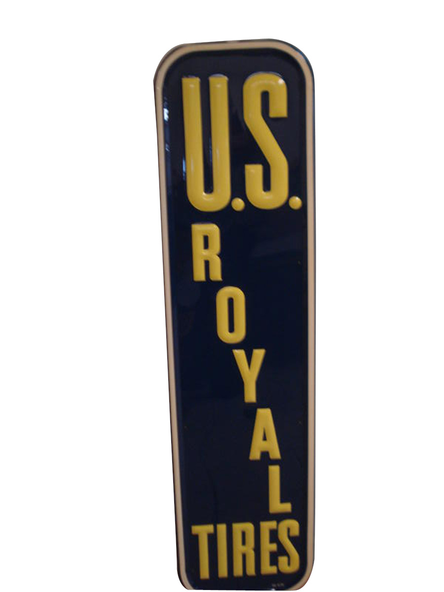 N.O.S. 1950 U.S.Royal Tires vertical tin embossed garage sign. - Front 3/4 - 97910