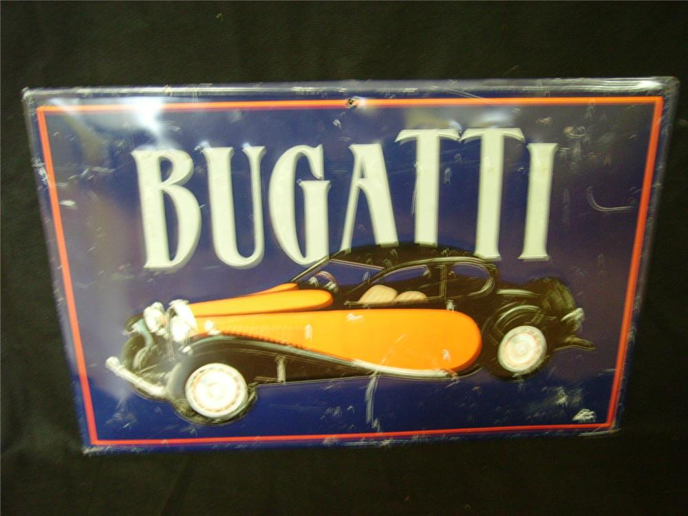 Superlative and wonderful Bugatti Automobiles heavy embossed tin sign with rolled edges. - Front 3/4 - 97911