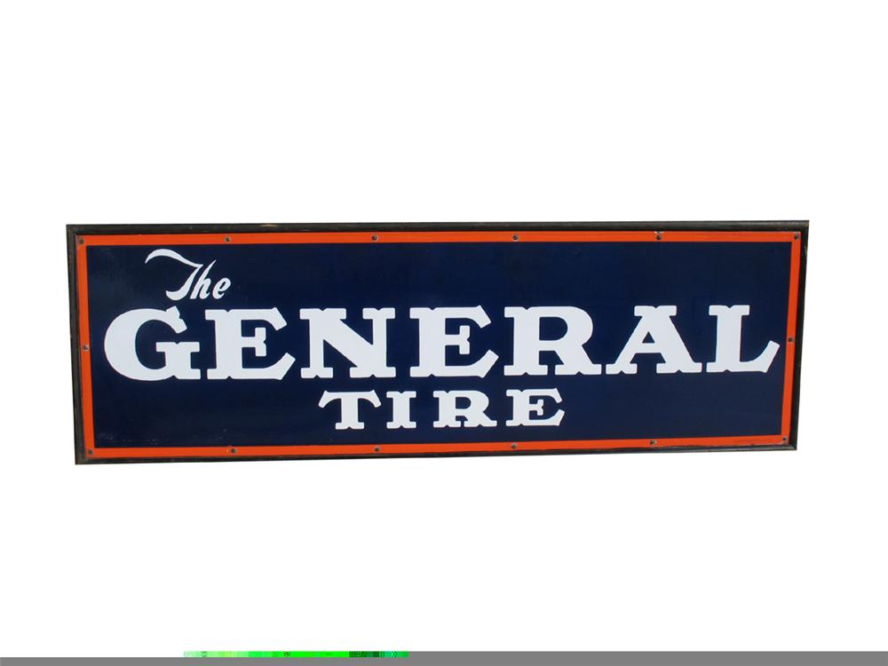Impressive N.O.S. 1930s The General Tire single-sided wood framed porcelain garage sign. - Front 3/4 - 97916
