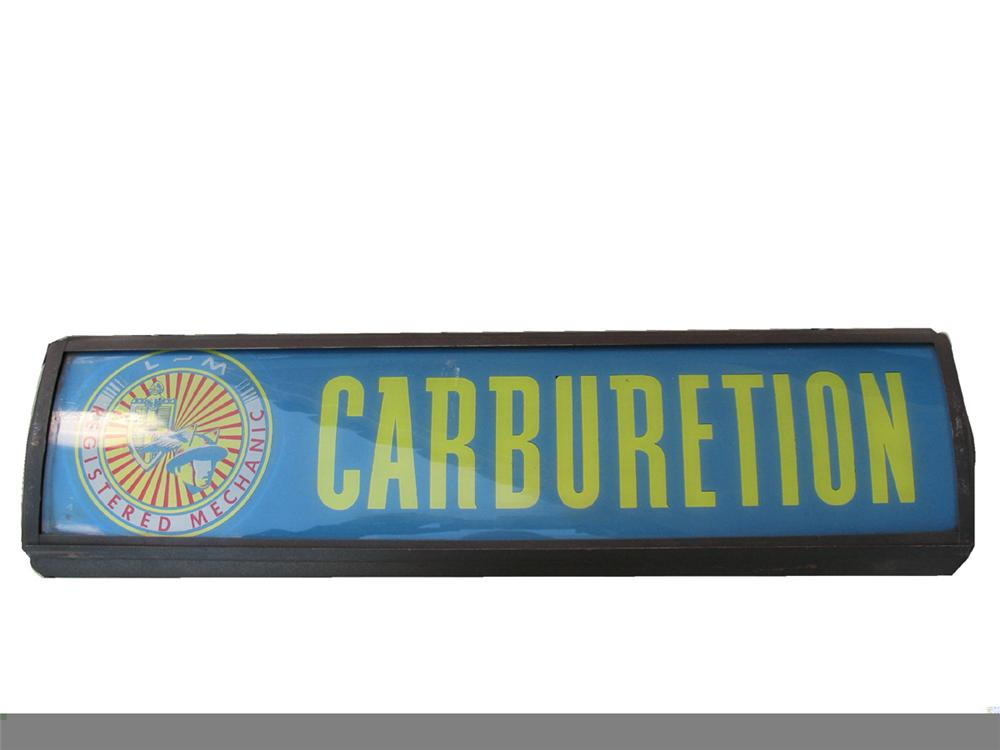 """Phenomenal 1940s Lincoln Mercury Registered Mechanic """"Carburetion Service"""" double-sided light-up dealership sign. - Front 3/4 - 97922"""