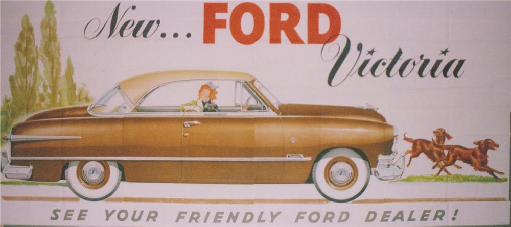 Magnificent N.O.S. 1951 Ford Victoria Automobiles roadside billboards with outstanding graphics. - Front 3/4 - 97925
