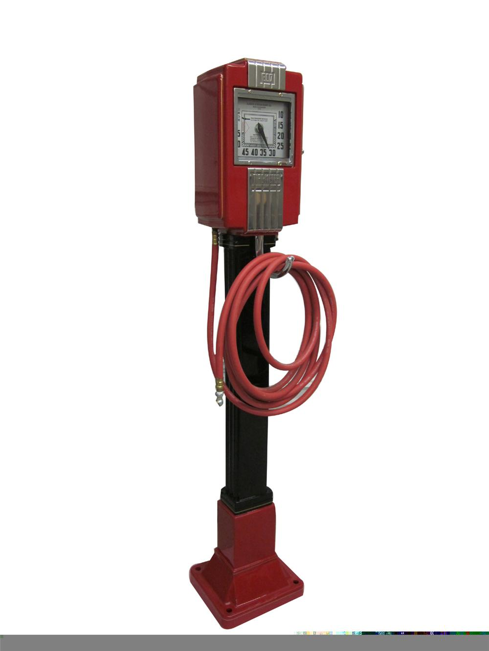 Circa 1937 Eco Model 37 cast iron service station air tower restored in red and black with gold pin stripping. - Front 3/4 - 97929