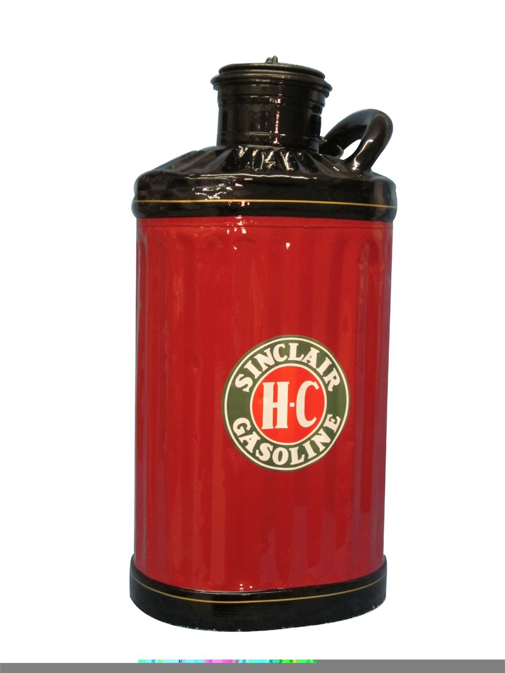 Fully restored 1920s-30s HC Sinclair five gallon gasoline measuring can. - Front 3/4 - 97932