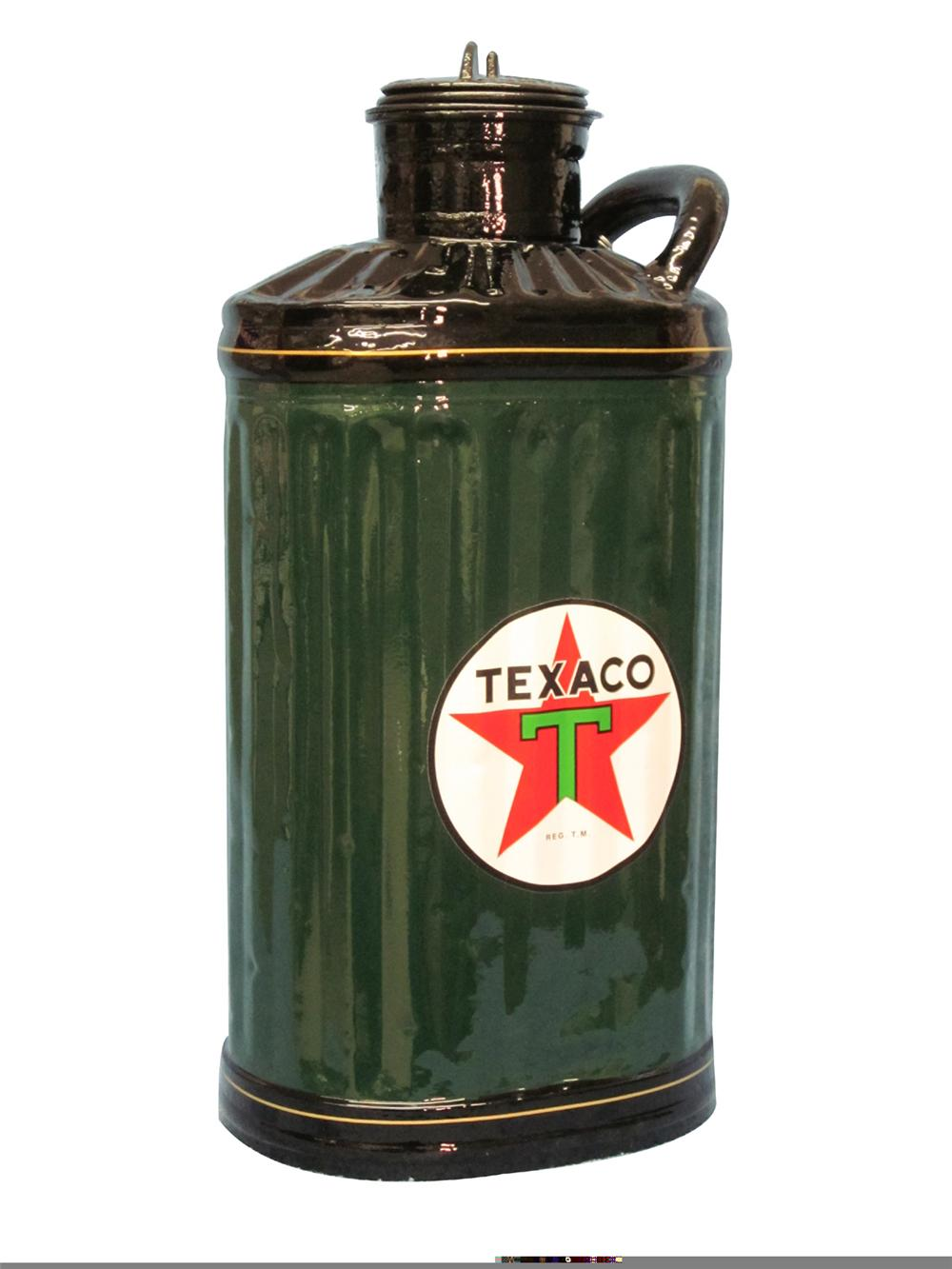 Fully restored 1920s-30s Texaco five gallon gasoline measuring can. Nicely painted and pin-striped in gold. - Front 3/4 - 97934