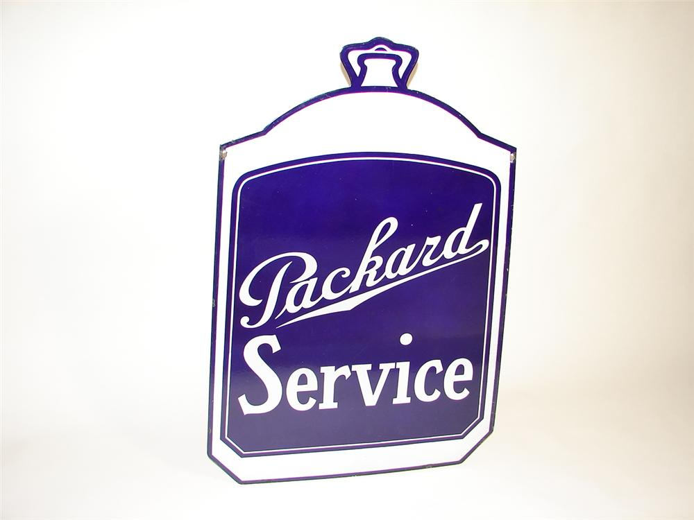 Exceptional 1930s Packard Automobiles double-sided porcelain radiator shaped dealership sign - Front 3/4 - 97939