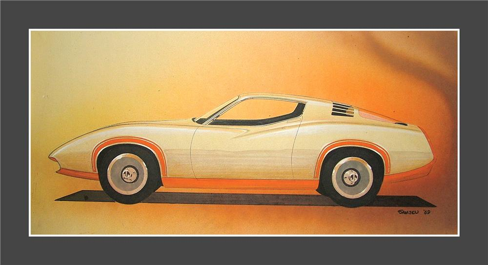 From the Chrysler Design Studios - a 1969 concept drawing of a 1972 Cuda by noted designer John Samsen. - Front 3/4 - 97943