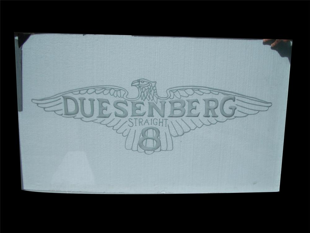 Museum quality Duesenberg Straight 8 showroom dealership heavy plate glass etched window sign. - Front 3/4 - 97957