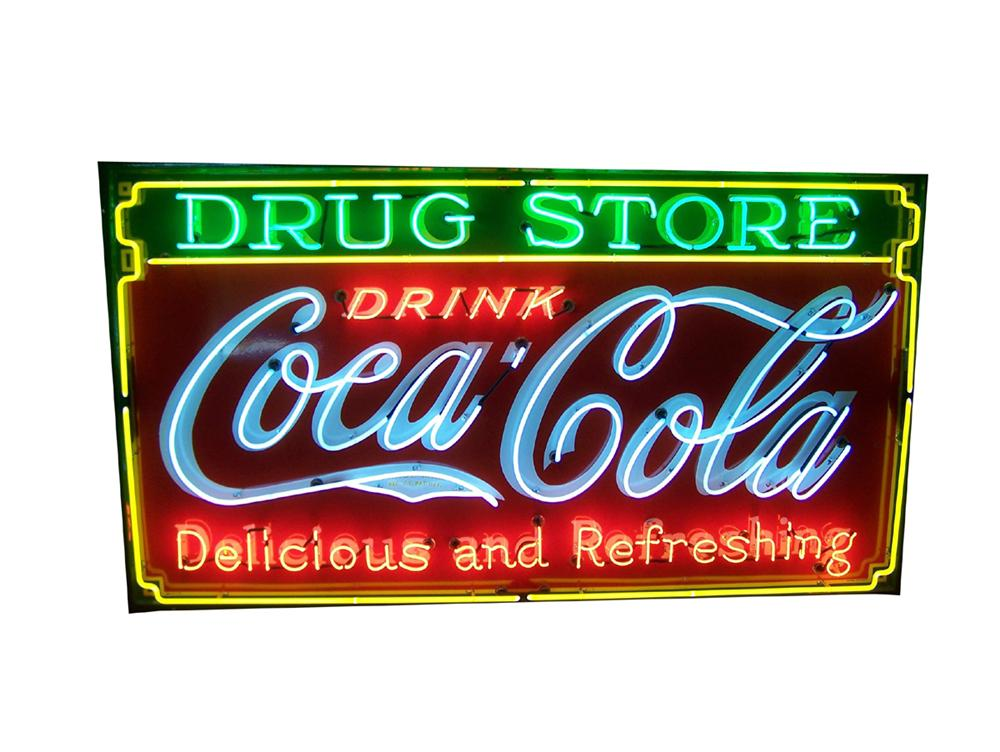 Magnificent 1930s Drink Coca-Cola - Drug Store single-sided porcelain neon sign. - Front 3/4 - 97964