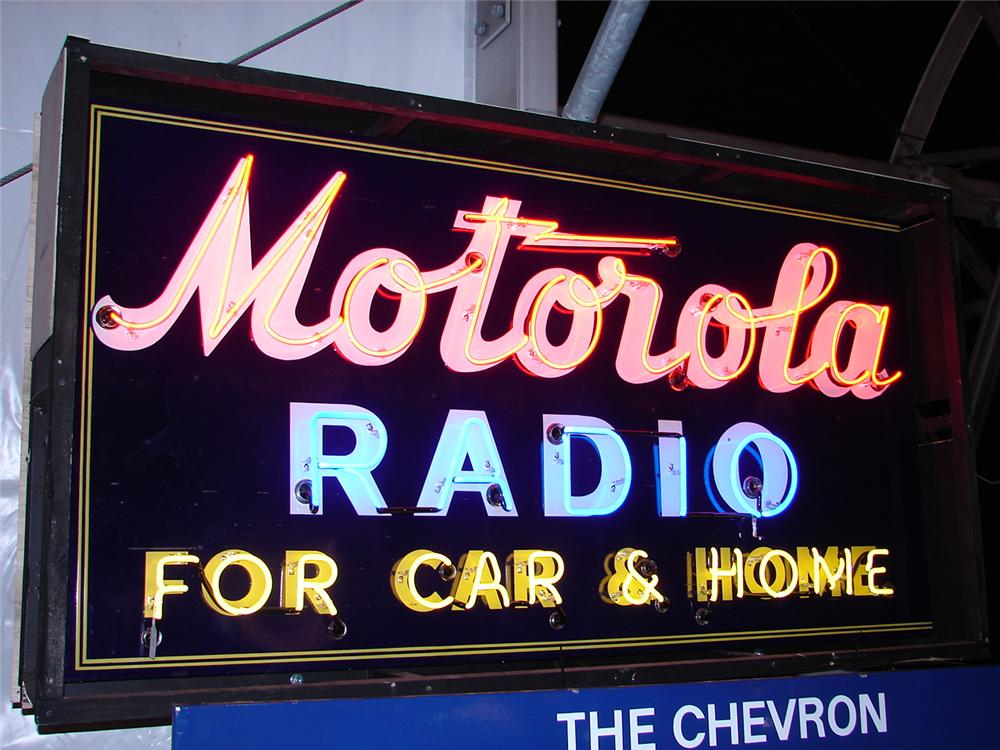 "Large and uncommon 1930s Motorola Radio for Car single-sided porcelain neon sign.""x48"" - Front 3/4 - 97968"