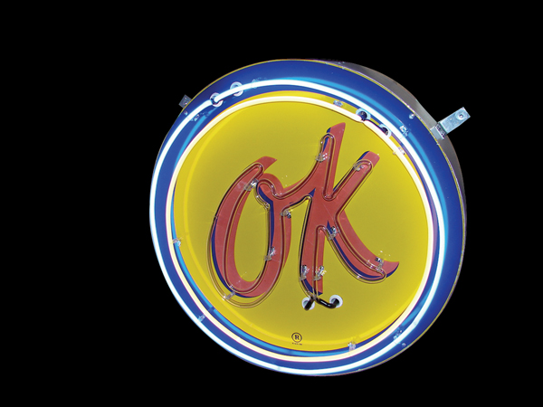 Very clean 1950s Chevrolet OK Used Cars single-sided neon porcelain dealership sign. - Front 3/4 - 97969
