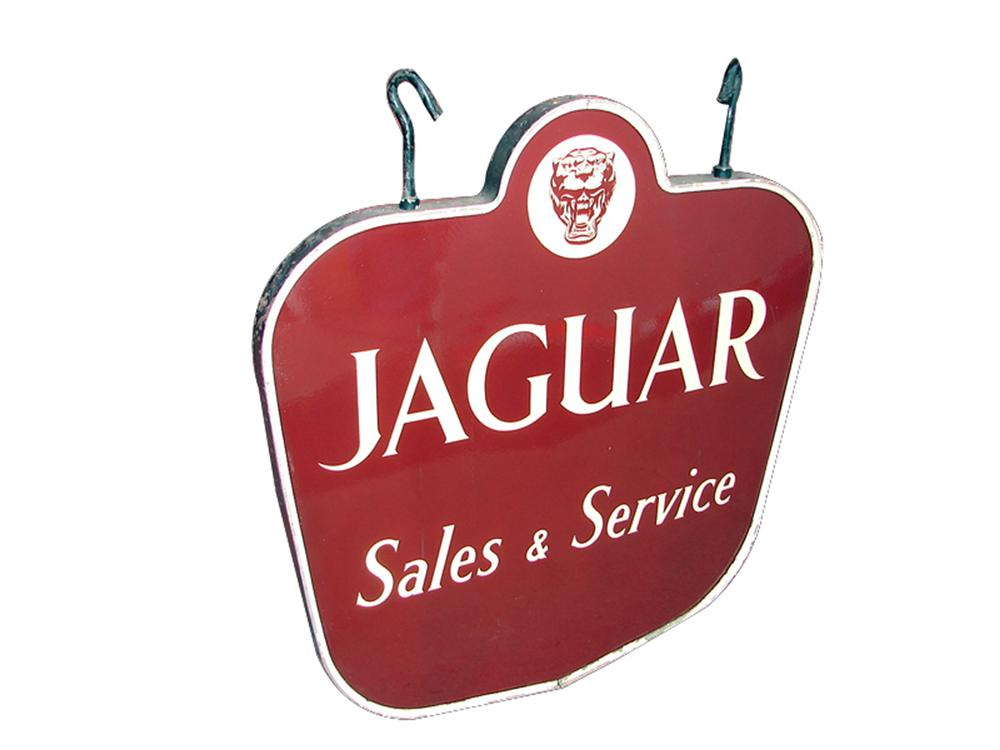 Stunning 1950s Jaguar Automobiles Sales and Service double-sided porcelain dealership sign - Front 3/4 - 97970