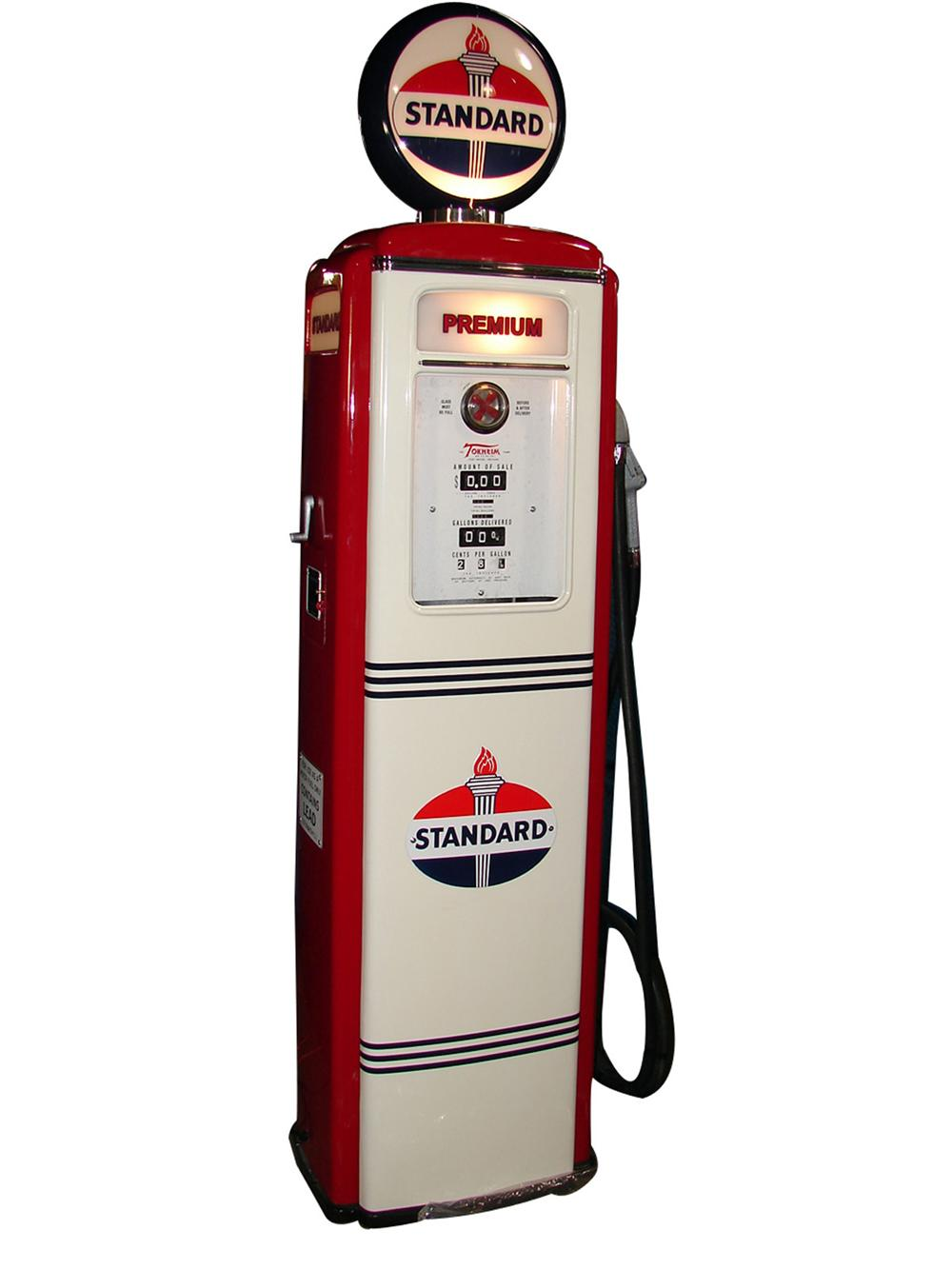 Perfectly restored 1940s-50s Standard Oil Tokheim 39 service station gas pump. - Front 3/4 - 97972