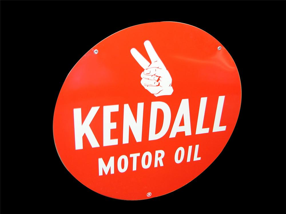 Striking N.O.S. 1950s Kendall Motor Oil double-sided tin painted garage sign. - Front 3/4 - 97974