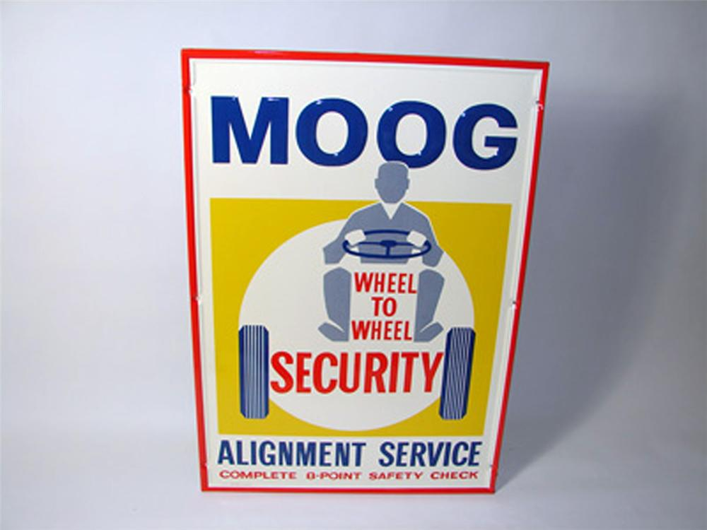 N.O.S. late 1950s-early 1960s Moog Auto Tires Alignment Service single-sided embossed tin sign. - Front 3/4 - 97979