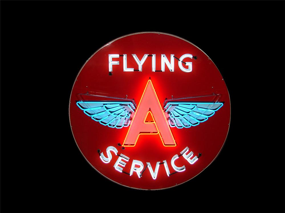 Magnificent 1950s Flying A Service single-sided porcelain service station sign with animated neon - Front 3/4 - 97984