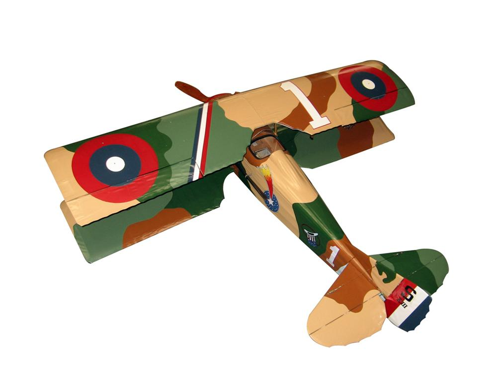 Fabulous 1917 World War I Sopwith Camel British Air Corps single-seat bi-plane fighter large vintage model. - Front 3/4 - 97986