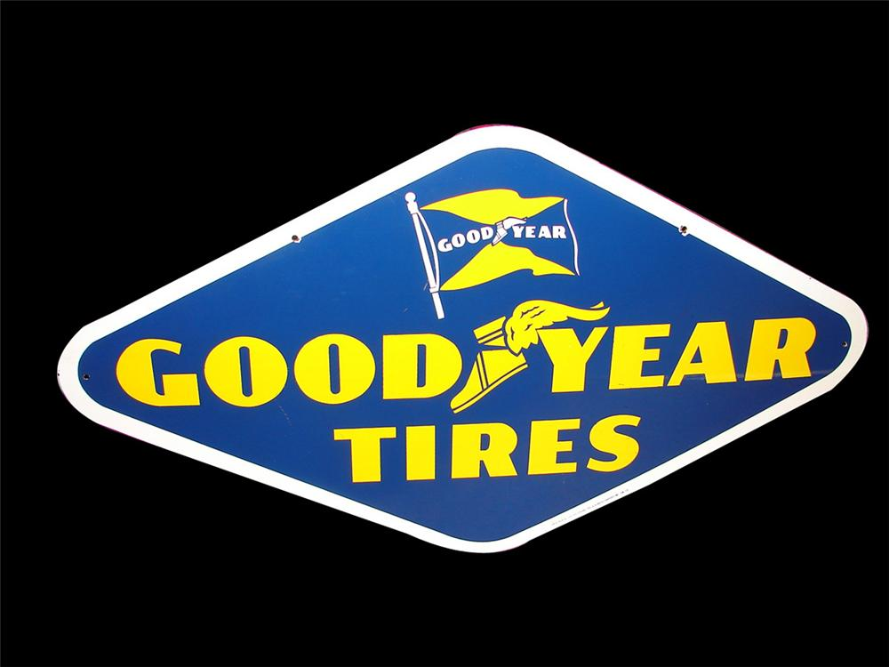 Very clean 1940s-50s Goodyear Tires double-sided porcelain garage sign. - Front 3/4 - 97987